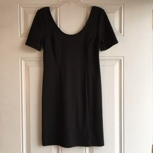 Black mini dress with scoop back